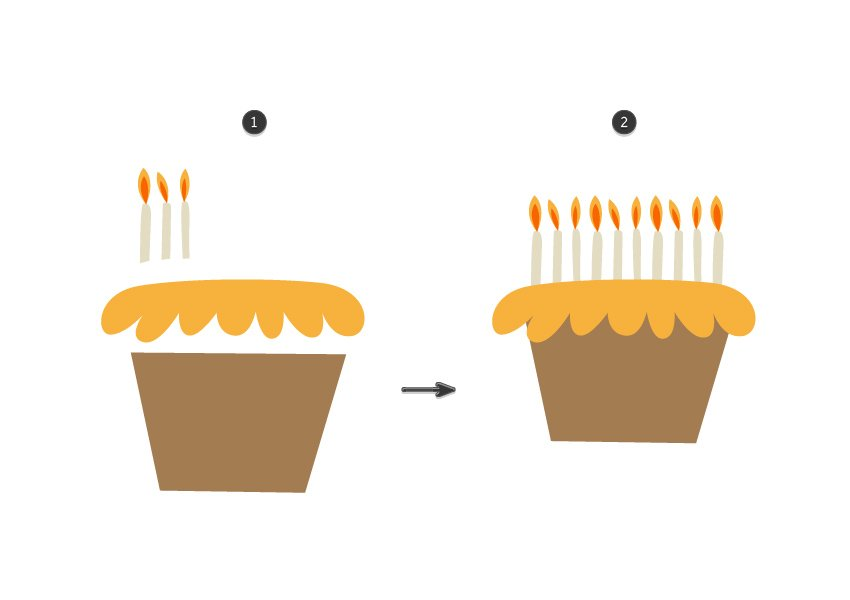 How to illustrate a simple cake