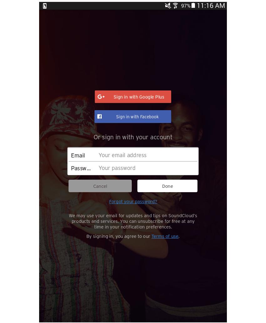 Soundcloud login page