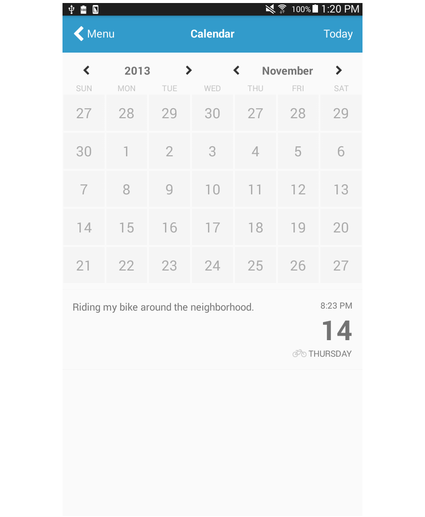 calendar page added styling to logs