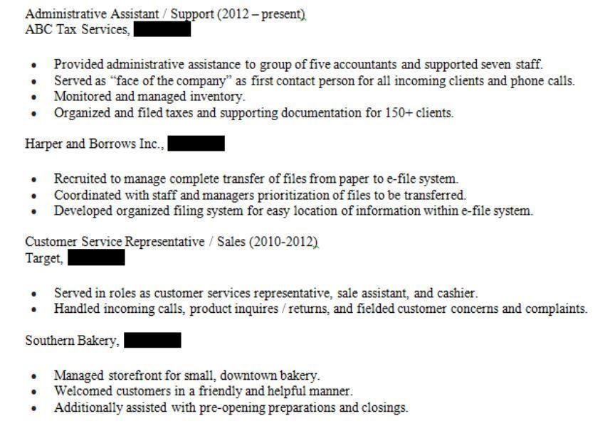 Combination resume sample work history with cumulative dates