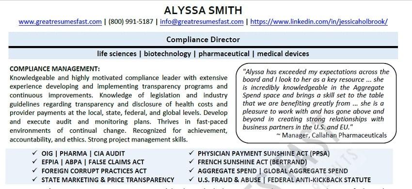 good resume sample