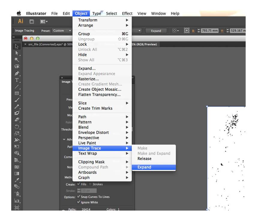 image trace expand