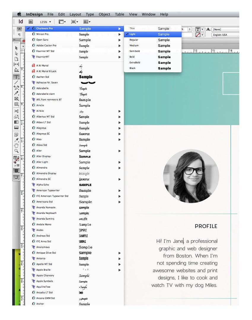 font menu