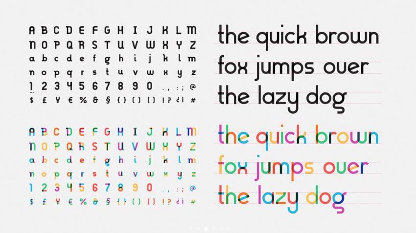 gilbert rainbow color font