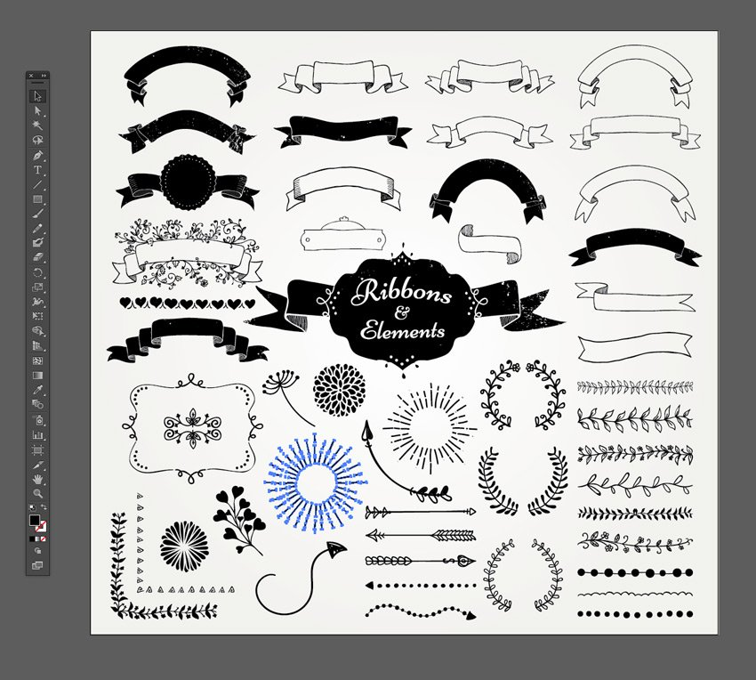 ribbon and design elements