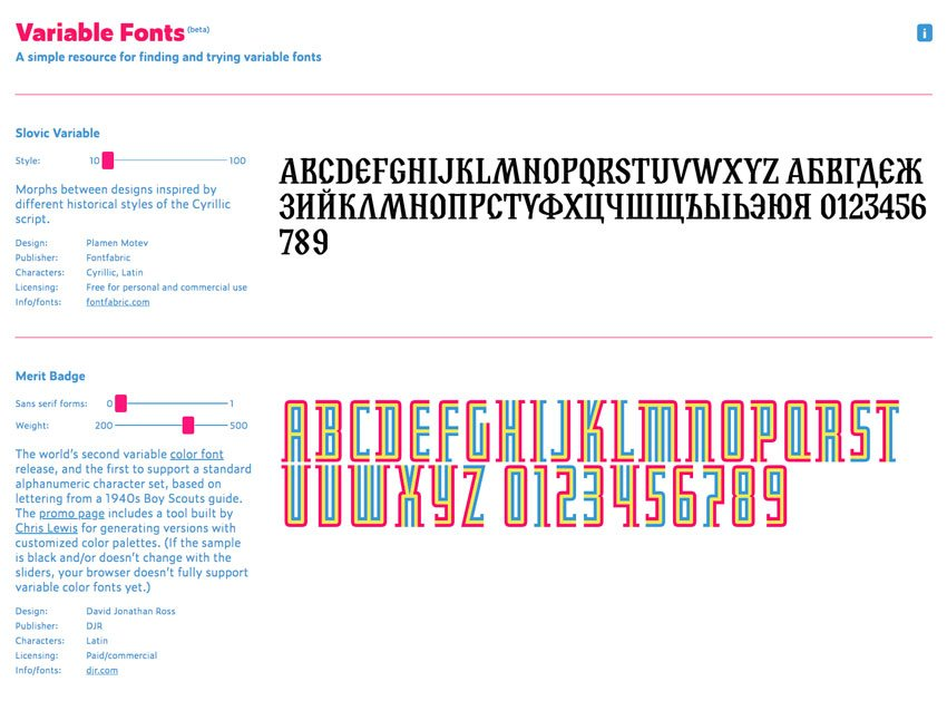 variable fonts site