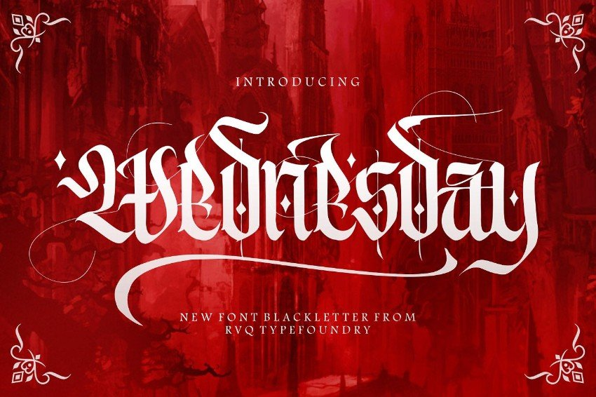 wednesday more gothic font
