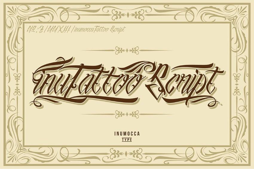 inutattoo script gothic font tattoo