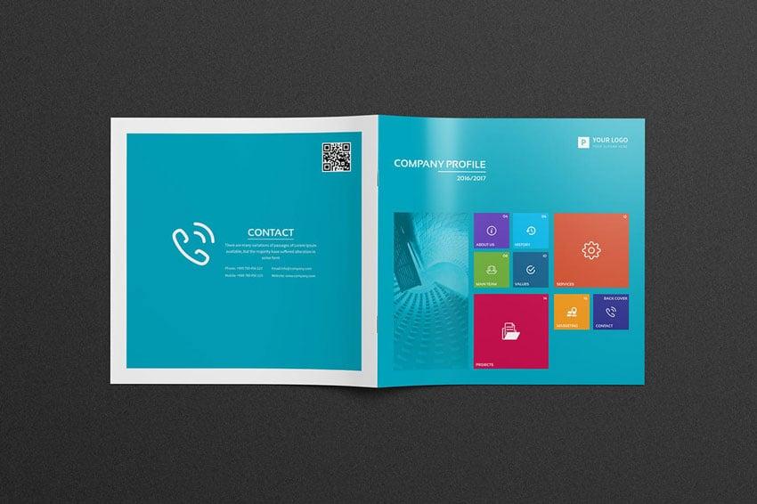 company profile bifold brochure template