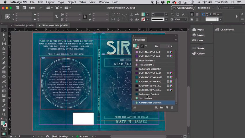 working on a cover in indesign