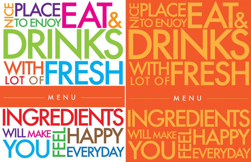 colorful menu