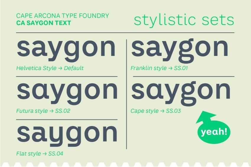 saygon text - a font similar to helvetica neue