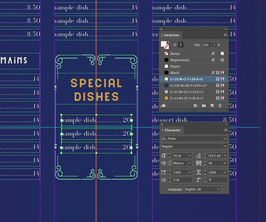 sample dishes text