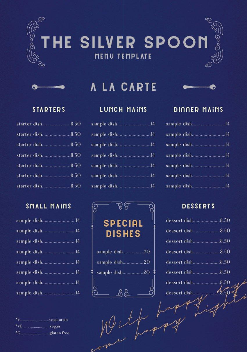 menu food