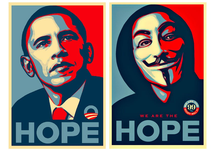 Left, Shepherd Fairey's poster design for 'HOPE' (2008), and Right, his design