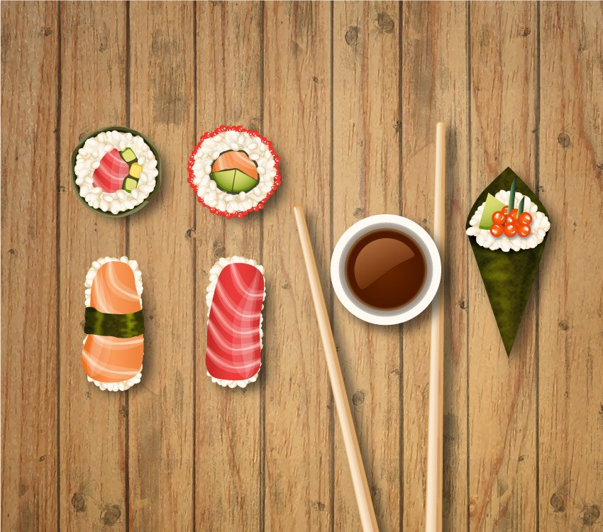final vector sushi icons
