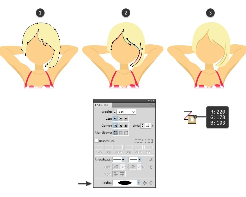 draw the hair of blonde girl