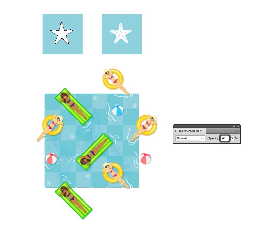 arrange starfish on pool floor