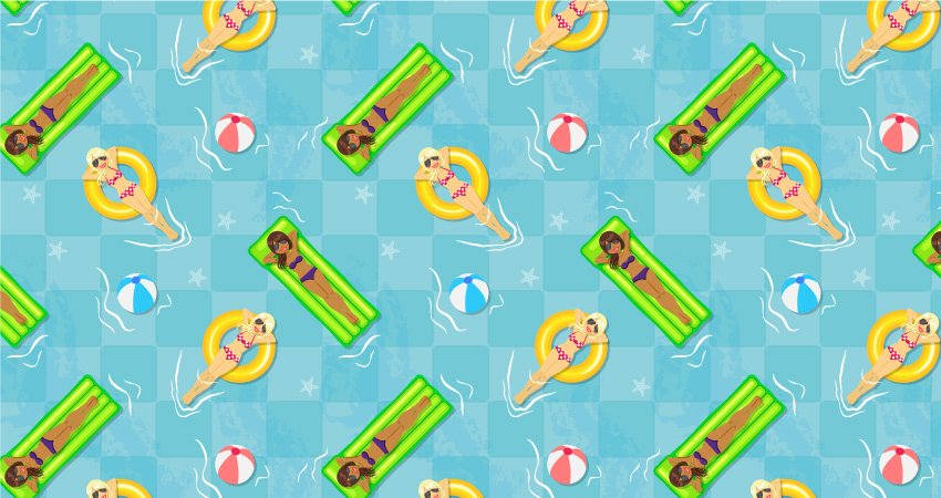 first version of the pool seamless pattern