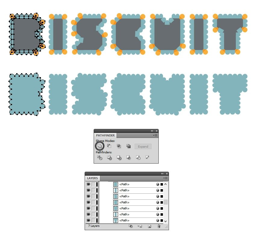 create the biscuit letters