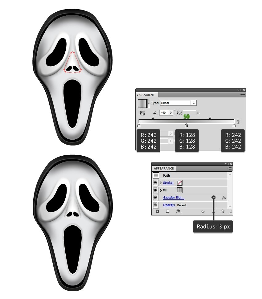 create shadow around the nose of mask