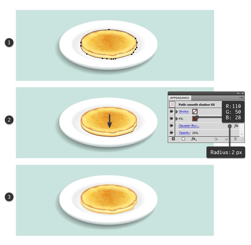 create smooth shadow under first pancake