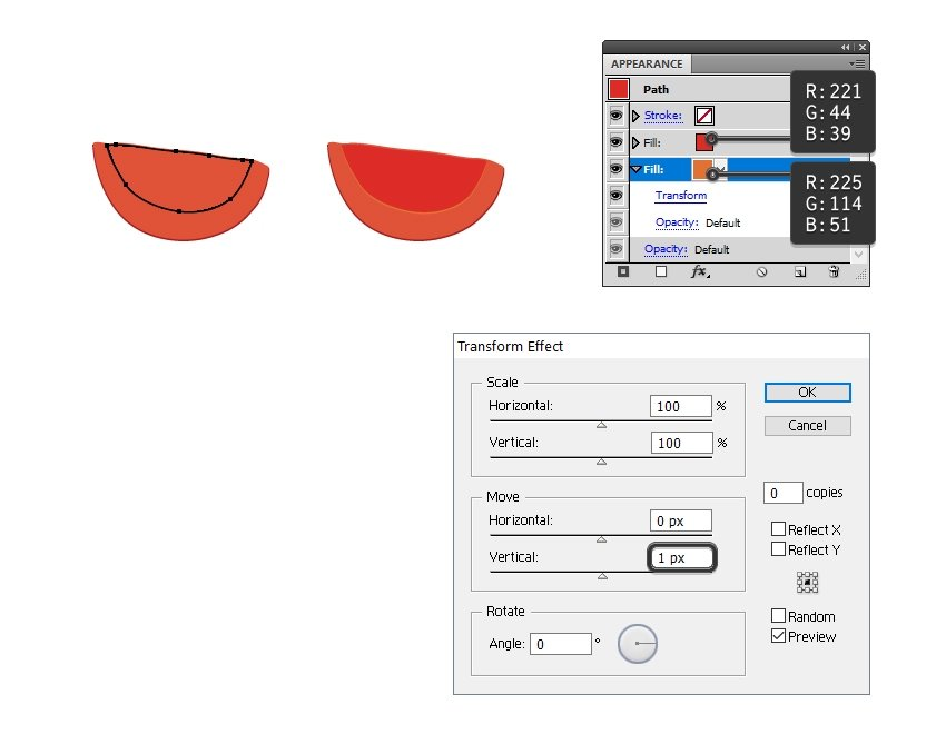 how to draw the pulp of the tomato slice