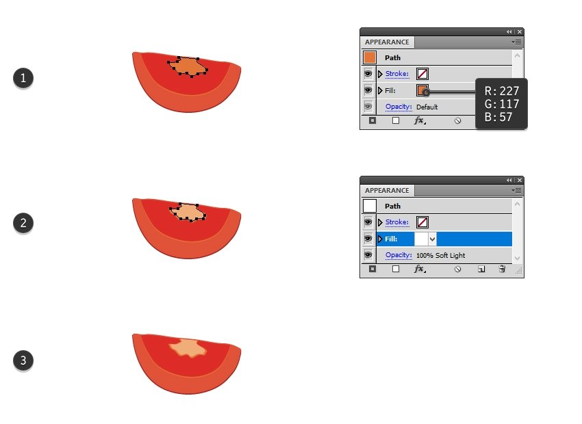 how to draw the center of the tomato slice