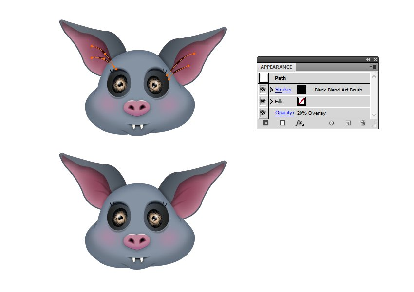 how to add details in bats ears