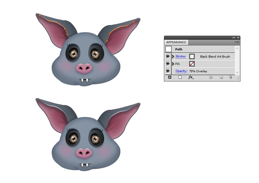 how to highlight the bats ears