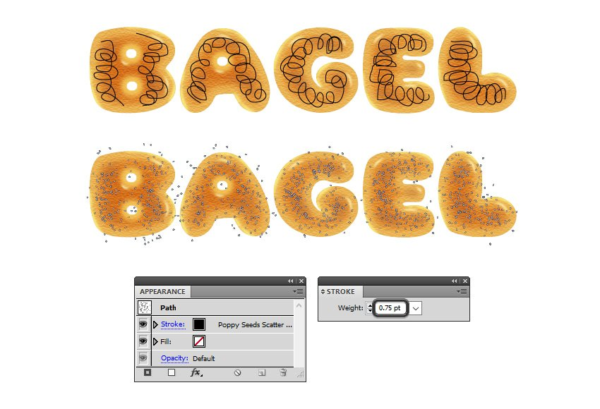 how to apply the poppy seeds scatter brush on bagel letters