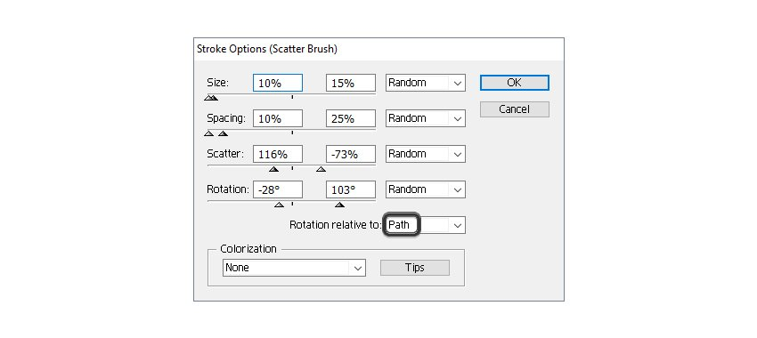how to change settings for poppy seeds scatter brush
