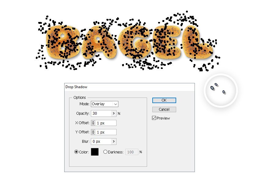 how to create shadow for extra poppy seeds around bagel letters