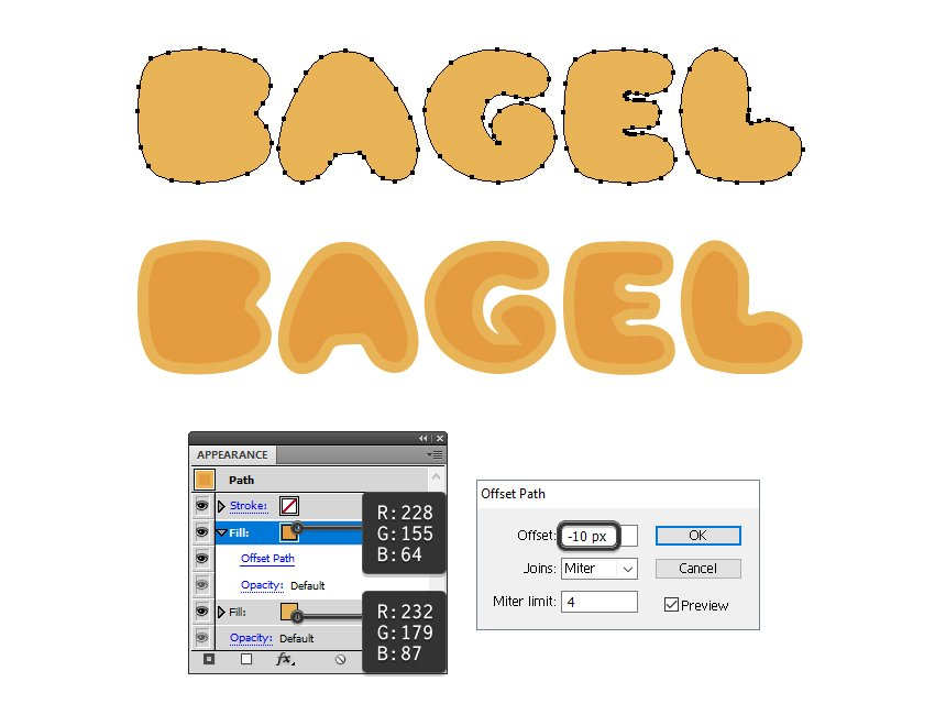 how to color the bagel letters