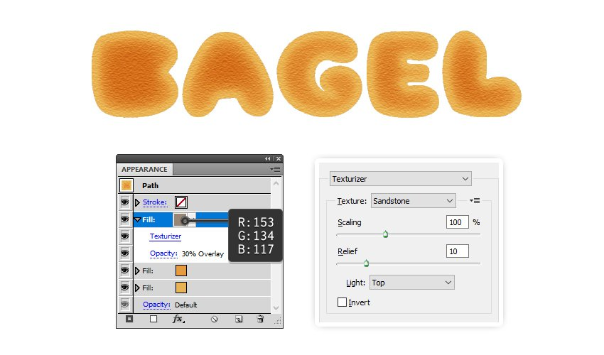how to apply texture to bagel letters