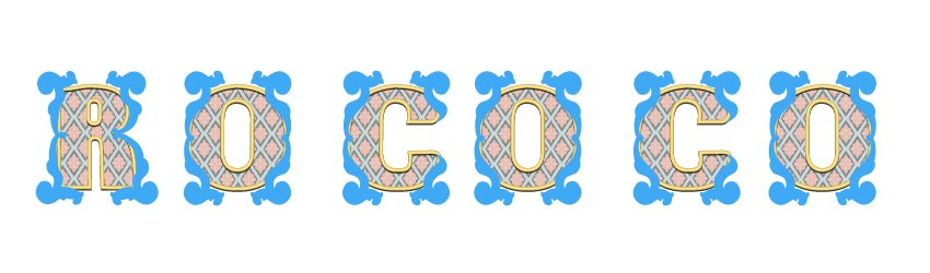 Rococo letters with all the big acanthus leaves