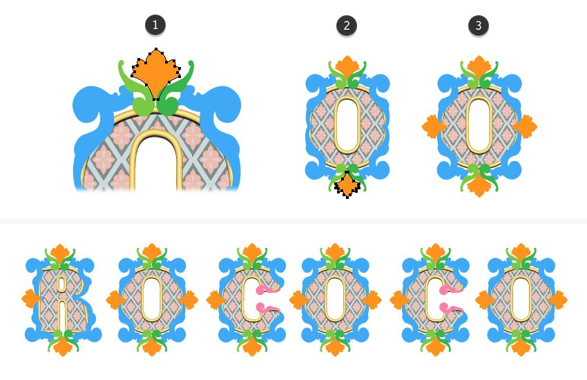 how to draw the shell decoration on letter O