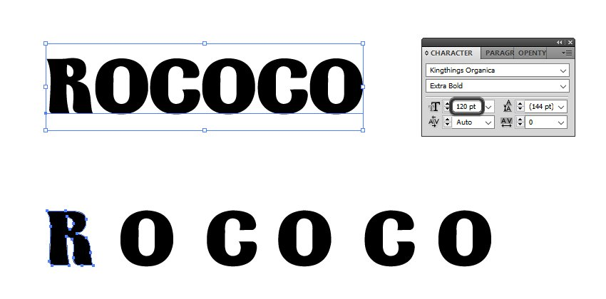 how to type the Rococo text