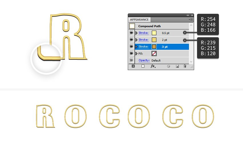 how to create a golden border for Rococo letters
