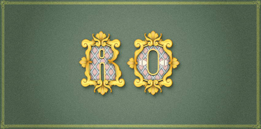Rococo inspired text effect close up