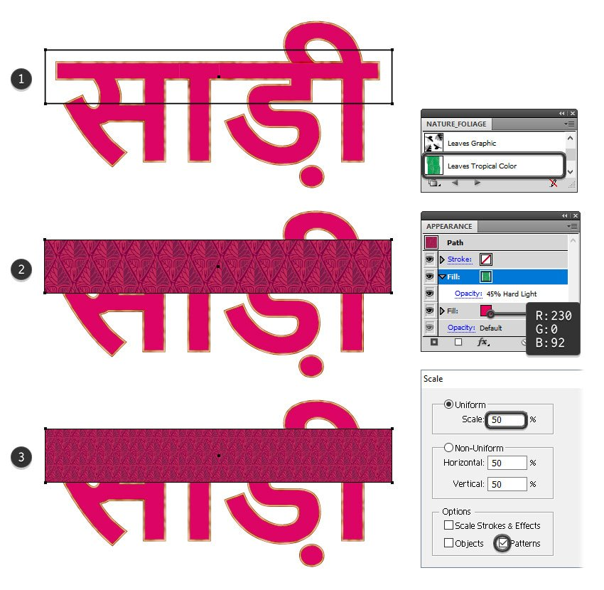 how to create the pattern rectangle on sari text