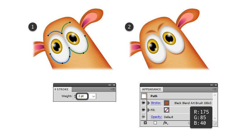 how to create the eyebrows and shadows for reindeers eyes