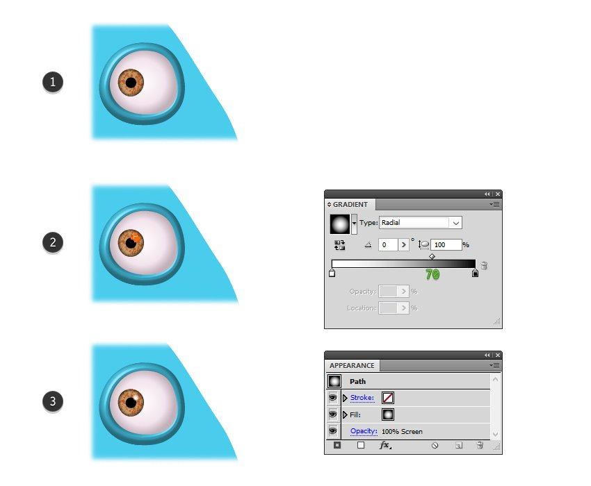 how to draw the pupil of the monster