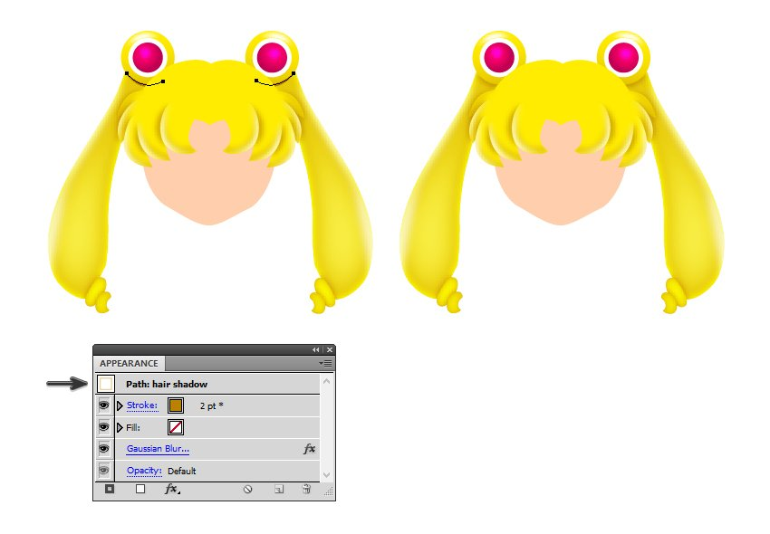 how to add shadow under sailor moons hair circles