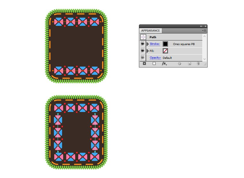 how to apply Oreo squares pattern brush