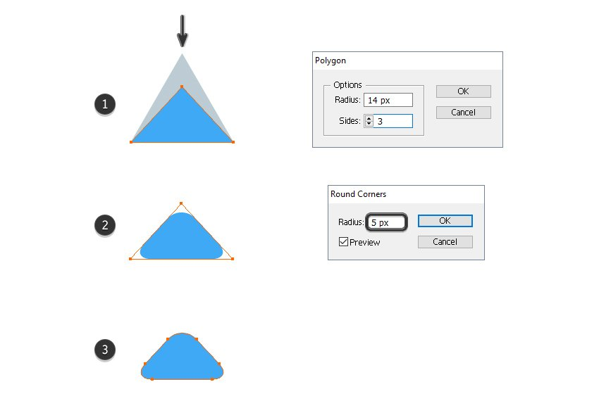 how to create a rounded triangle for Oreo design