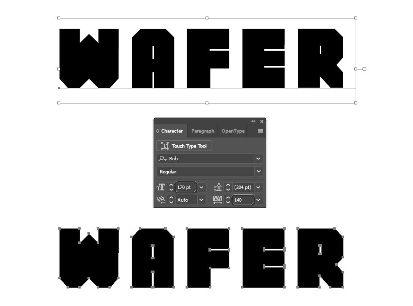 how to type the wafer text