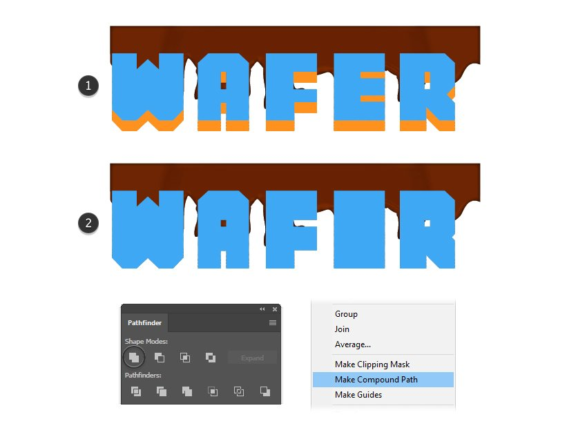 how to create a wafer letters compound path
