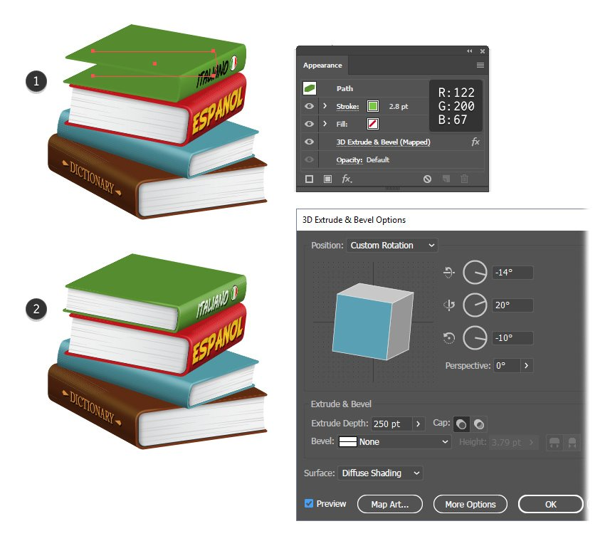 how to create a green 3D book