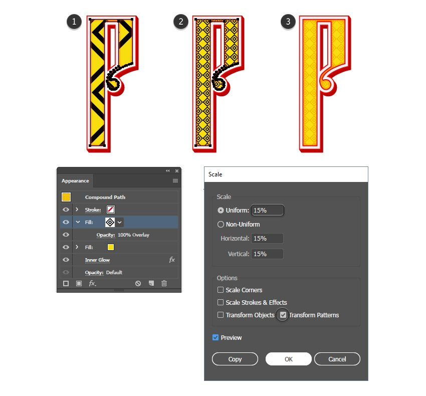 how to apply a traditional pattern to Russian vector letter